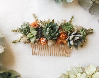 Succulent Hair Comb // Green & Orange