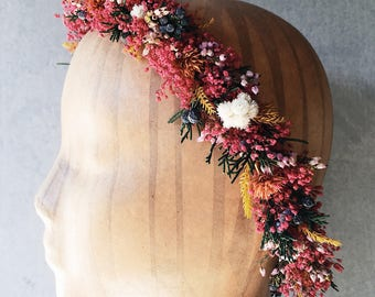 Raspberry Rainbow Flower Crown // Dried Flower Crown // Head Band