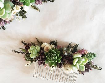 Succulent Hair Comb // Purple & Green