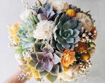 Succulent & Sola Bouquet // Sunshine // Bridal Bouquet