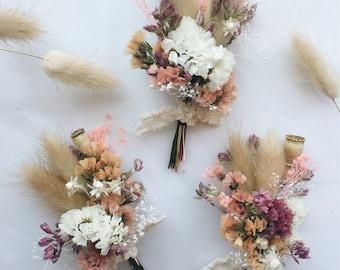 Peach & Plume Boutonniere // Dried Flower Boutonniere