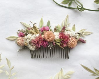 Hair Comb // Pink Dream // Dried Flowers