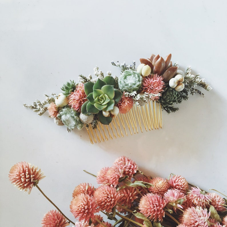 Succulent Hair Comb // Green and Pink image 0