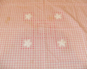 Vintage Pink Gingham Check Chicken Scratch Table Cloth
