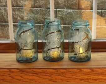 Vintage Blue Mason Jars with Barbed Wire