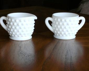 Vintage Hobnail Milk Glass Petite Cream and Sugar Set