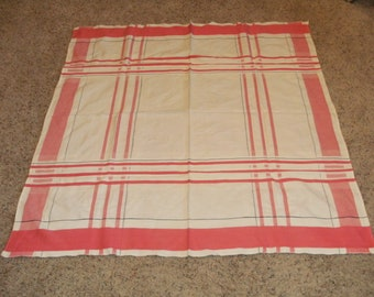 Vintage Pink and White Tablecloth