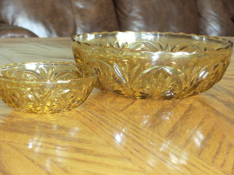Vintage Amber Glass Chips and dip Bowl Set