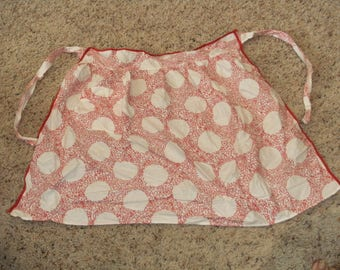 Vintage Red and White Polka Dot Apron