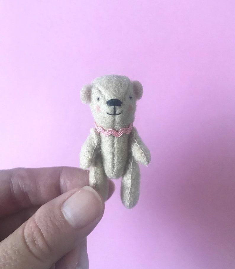 Handmade Miniature Felt Bear image 0