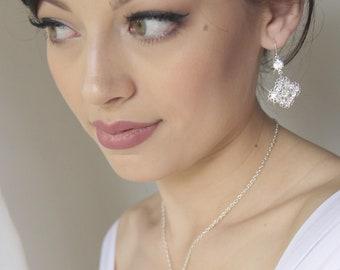 Wedding jewelry set, crystal necklace, bridal jewelry set, wedding necklace and earring set, bridesmaid jewelry, pendant. CHARLIZE