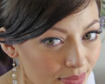 Pearl drop earrings silver, white pearl earings, pearl and rhinestone earrings,bridal dangle earings, pearl drop, wedding earrings. CARRIE