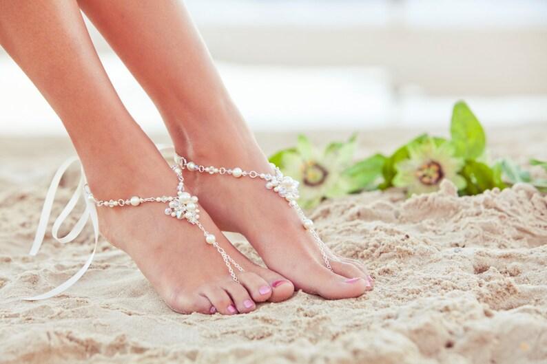0b7e08f10 Barefoot sandles beach wedding shoes beaded wedding sandals