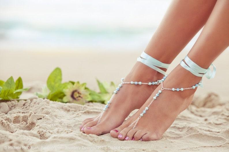blue bridesmaid foot jewelry Barefoot Sandles beaded beach jewelry GEORGIA Aqua something blue soleless sandals beach shoes