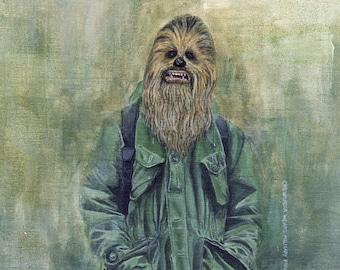 He Wears It 031 - Chewbacca wears Military Parka & Engineered Garments (Original Paintings)