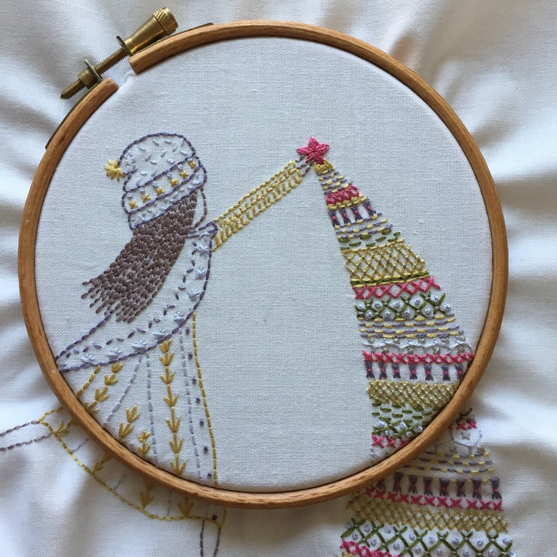 putting up the tree hand embroidery pattern pdf image 0