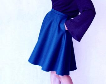 Wool skirt pocket,Pocket skirt,Black wool skirt,Blue wool skirt,Wool skirt midi,Women winter skirt,Circle skirt,50s skirt,High waisted skirt
