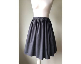 Cotton skirt women,Knee length skirt,Gray Grey skirt,Women summer skirt,Midi skirt women,Elastic skirt,Simple skirt,bohemian skirt,handmade