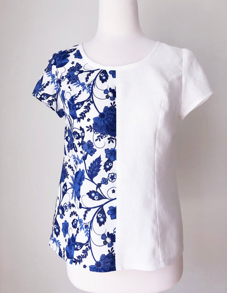 f938bafcd36 Floral blue and white color block organic linen top with short