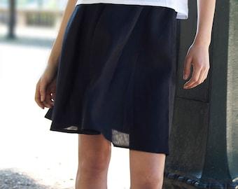 Black linen skirts,Linen skirt with pockets,Midi skirt,Circle skirt,50s skirt,High waisted skirt,Women linen clothing, Simple skirt