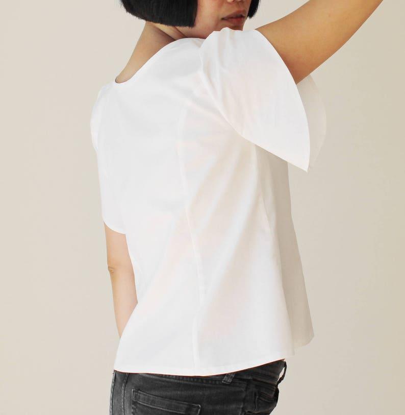 Petal sleeve,White bohemian top,Casual white shirt,White boho top,Short sleeve blouse,White blouse,Women summer top,Women cotton top