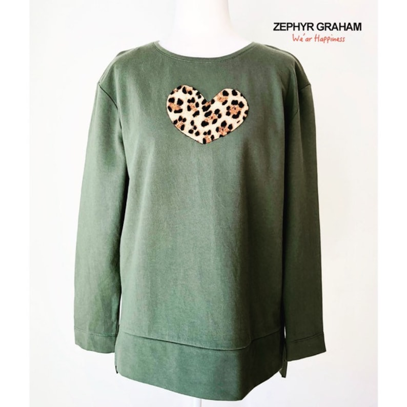 86352952f768 Olive green leopard heart sweatshirt with long | Etsy