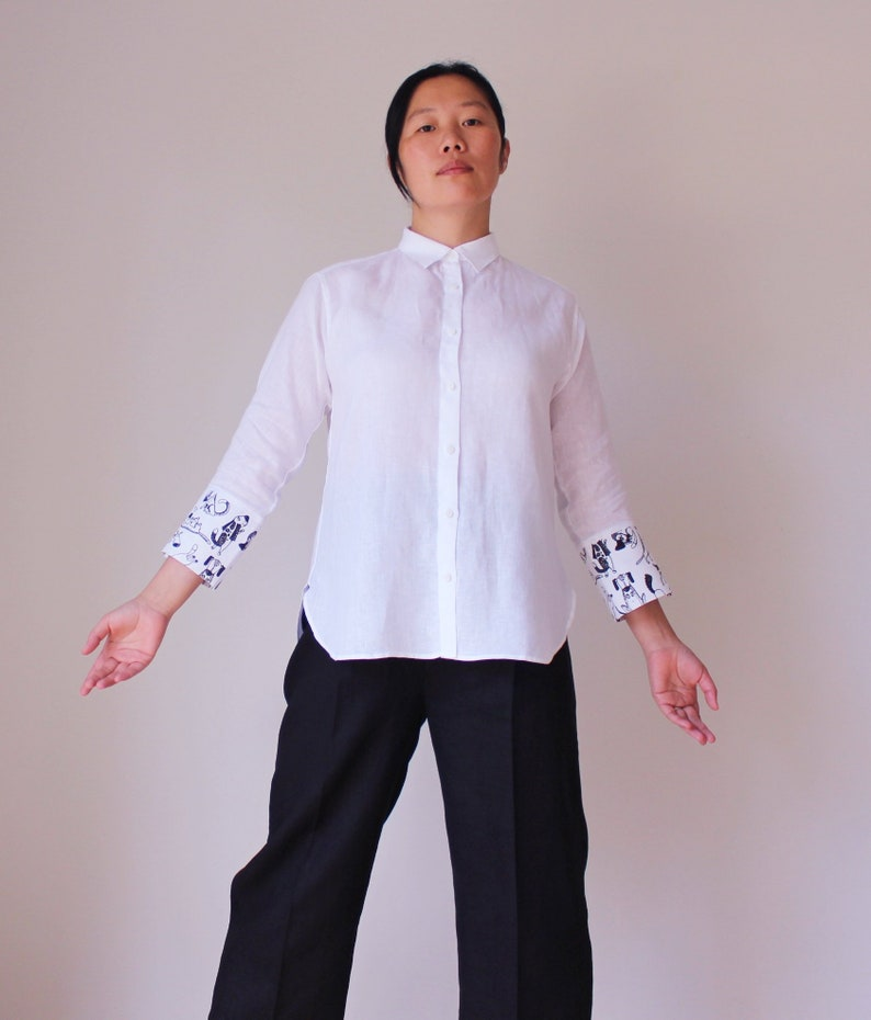 dfd149f713d White simple casual organic linen button shirt with long