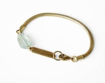 The Aquamarine ID snake chain bracelet