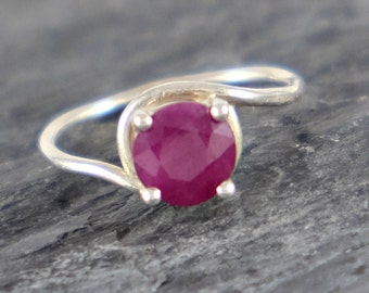 Solitaire Ruby Ring, Ruby Engagement Ring, Sterling Silver Ring Natural Ruby Jewelry Romantic Gift For Her Red Gemstone Ring - MADE TO ORDER