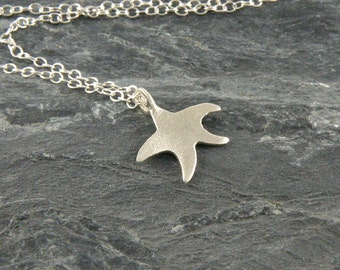 Summer Jewelry, Starfish Necklace Gift For Teens, Tiny Starfish Jewelry Sterling Silver Necklace, Star Fish Pendant ,Sea Star necklace