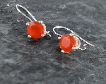 Carnelian Earrings, Sterling Silver Earrings, Carnelian Jewelry Gift For Women, Orange Gemstone Earrings, Elegant Earrings Gift For Her