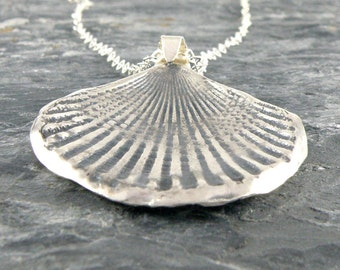Summer Jewelry, Silver Seashell Necklace, Sterling Silver Necklace Gifts For Her, Sea Shell Pendant, Seashell Jewelry, Beach Jewelry