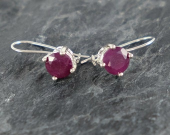 Ruby Earrings, Sterling Silver Earrings, Red Ruby Jewelry Gift For Girlfriend, Gift For Women, Gift For Teens Natural Ruby Earrings