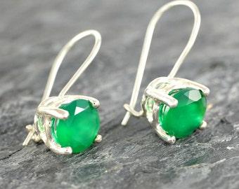 Green Onyx Earrings Gift For Women, Sterling Silver Earrings, Green Onyx Jewelry Gift for Her, Green Gemstone Earrings