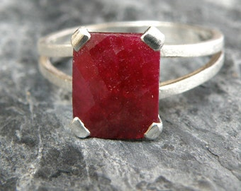 Ruby Ring Sale, Ruby Engagement Ring, Split Shank Ring, Sterling Silver Ring, Emerald Cut Ring, Genuine Ruby Jewelry - MADE TO ORDER