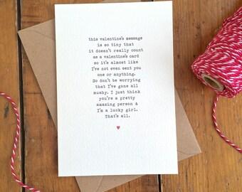 Awkward Non-mushy Valentine's Day Card