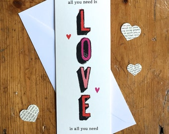 All you need is Love Card Music Lover Lyrics Love Song Anniversary Wedding Engagement Birthday Card FREE UK P&P