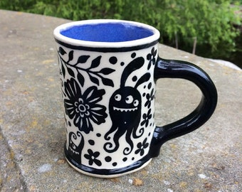 Monsters in the Garden Small Mug - ceramic handmade coffee cup
