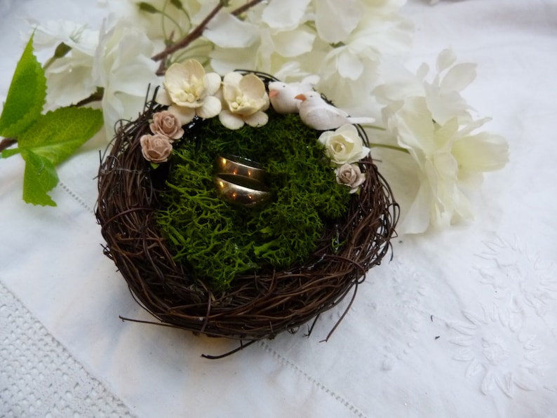 woodland wedding White love bird nest ring bearer pillow with white and ivory flowers and real moss country wedding