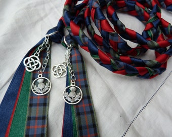 Flower of Scotland - Handfasting cord- Tartan, red and navy - celtic knot and scottish thistle charms