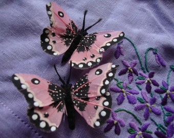 """Pale pink and black feather butterfly hair clips- monarch butterfly 3"""""""