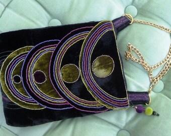 Art Deco style black velvet bead embroidered bag