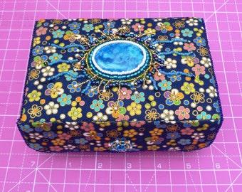 Dark Blue handmade beaded trinket box