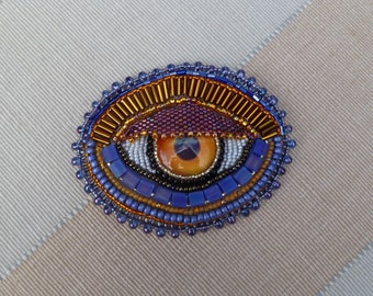 Copper and Indigo 'EYE' hand-beaded brooch/pin