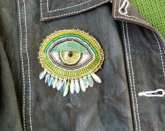 Green and silver 'EYE' hand beaded brooch/pin