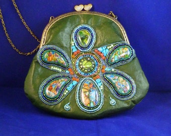 SALE ....  Green leather bead and gemstone embroidered  purse/handbag with Kiss Clasp...