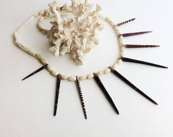 Tiger Sea Urchin Spines Necklace
