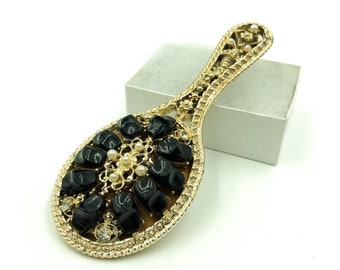Ornate Beaded Purse Mirror in Gold