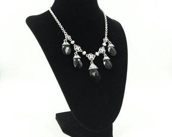 Brighton Black Crystal Deco Drop Necklace in Silver