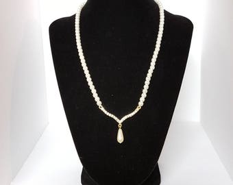 Crystal Rhinestone Teardrop Pearl Soft V Shaped Necklace Signed Claire's